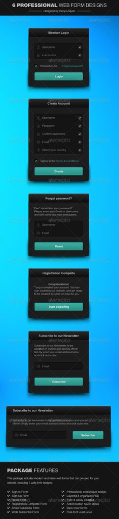 This package includes modern and clean web forms that can be used for your website, including 6 web form designs: - Sign In Form -
