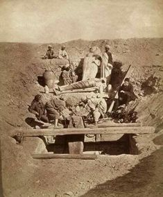 19th century Auguste-Edouard Mariette (1821-1881) French Egyptologist, at one of his excavations, ca. 1875.
