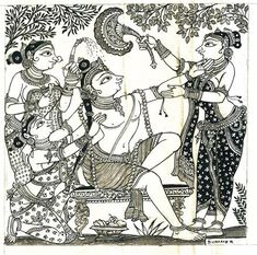Buy online Art Print Paintings Wall Art - Six seasons - summer bijay parida from Story Ltd Indian Traditional Paintings, Indian Art Paintings, Traditional Art, Small Paintings, Krishna Painting, Krishna Art, Krishna Lila, Bal Krishna, Madhubani Art