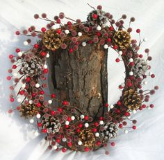 Holiday Berry Wreath  Winter Themed Decor Pine cone