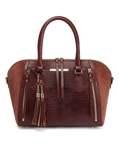 94d56985b36 This Dark Brown Oda Snake-Embossed Suede Leather Tote Bag is perfect!   199.99  299.87