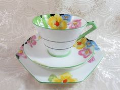 C 1930 s Art Deco Paragon Conical Cup Saucer Plate Trio Iceland Poppies White
