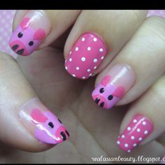 15 Pretty and Cute Pig Nails for Girls - 101 NailDesign Pig Nail Art, Pig Nails, Animal Nail Art, Pig Art, Fancy Nails, Trendy Nails, Cute Pigs, Little Pigs, Blue Nails