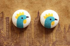 Truly one of a kind button earrings using up cycled 1950s fabric. #ooak #etsy #handmade