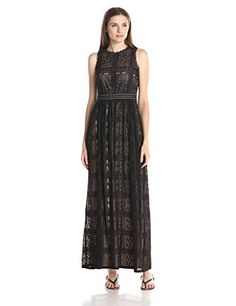 London Times Women's Sleeveless Inset Waist Lace Maxi, Black/Nude, 10