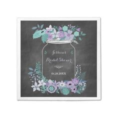 Chalkboard Mason Jar Purple Floral Bridal Shower Napkin