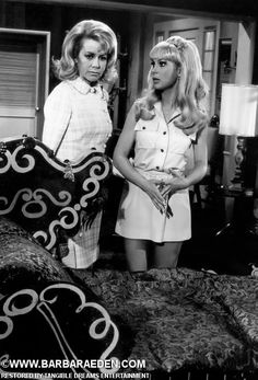 "Rare on-set photograph of Barbara as Jeannie and Emmaline Henry as Mrs. Bellows during filming of I Dream of Jeannie episode, ""The Mad Homewrecker"" Nov. 11, 1969."