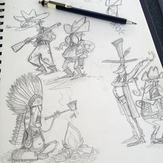 Cowboys sketches - Illustrations Sketches Characters Wild West - by Simone Krüger