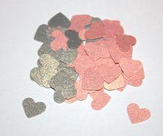 200 Mini Pink and Grey Shimmer Heart Confetti by SammysCraftShop, $3.00