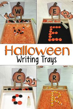 Our Halloween Writing Trays are so fun, it's scary!  Here are our variations on this budget friendly spooky letter center! via @PlayToLearnPS