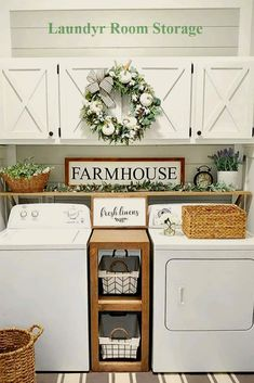"""Smart Farmhouse Laundry Room Storage Organization Ideas 1 – umakup Show me your farmhouse laundry room and I will tell you who you are"""" We just made up this quote and hopefully it is not true! Because admit it, farmhouse … Laundry Room Remodel, Laundry Decor, Laundry Room Organization, Laundry Room Design, Storage Organization, Smart Storage, Laundry Room Shelving, Laundry Room Quotes, Laundry Closet Makeover"""