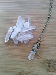 Quartz necklace, pendant, wire wrapped, healing stone, bronze, crystal, pendulum, point, raw, rough, crystal, stone, boho, bohemian,