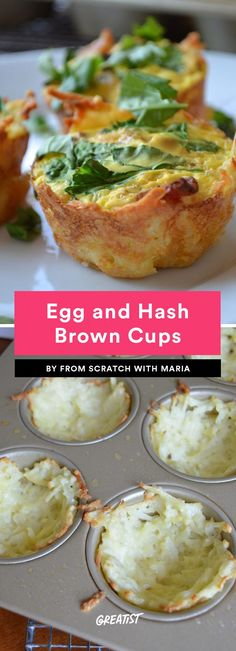 1. Egg and Hash Brown Cups #healthy #breakfast #recipes https://greatist.com/eat/healthy-breakfast-cup-recipes-to-fuel-your-mornings