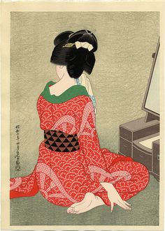 Hakuho Hirano- Before the Mirror (1932). Japanese woodblock print.