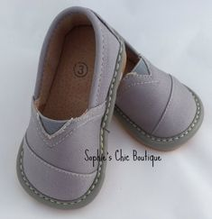 Handsome new Grey TomTom Squeaky Shoes from Sophie's Chic Boutique!  Only $14.99 http://sophieschicboutique.com/item_1644/Gray-TomTom--Squeaky-Shoe.htm