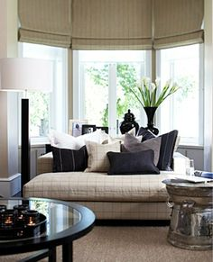 10 Captivating House with Window Sill: 10 Captivating House With Window Sill With Brown Sofa And Black Pillows Design