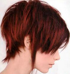 Short layered hairstyles for straight hair with deep auburn red hair color with best style 2015 for modern girls
