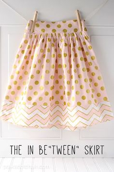 Tween Skirt Sewing Tutorial - a great free sewing pattern for a skirt to fit a tween girl. Has elastic back and side zipper