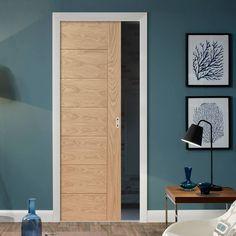 Single Pocket Palermo Flush Oak Door with Panel Effect. #oakpocketdoor #internalslidingdoor #internaloakpocketdoor