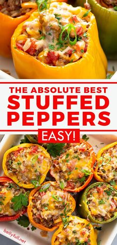 Easy Healthy Recipes, Easy Meals, Healthy Eats, Delicious Recipes, Free Recipes, Keto Recipes, Yummy Food, Stuffed Bell Peppers Easy, Best Stuffed Pepper Recipe