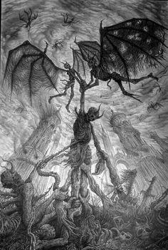 Ideas Dark Art Horror Illustrations For 2019 Gothic Fantasy Art, Fantasy Kunst, Dark Gothic Art, Ange Demon, Demon Art, Arte Horror, Horror Art, Satanic Art, Arte Obscura
