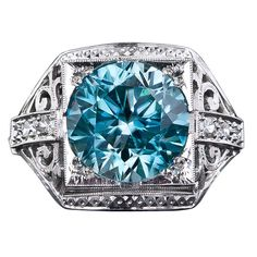 Art Deco Blue Zircon Diamond Ring