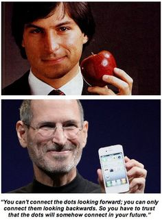An excellent quote by the brilliant Steve Jobs. Love these two APPLE pictures:) He changed the world! {1955-2011}