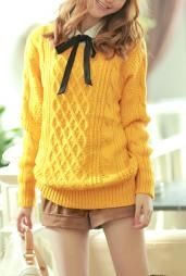 Preppy Mannerism Cable and Lattice Knit Sweater in Mustard