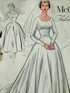 Vintage McCall's 9678 Sewing Pattern, Wedding Dress, 1950s Wedding Dress, Evening Dress Pattern, Bridesmaid, Wedding Gown Pattern, Bust 32