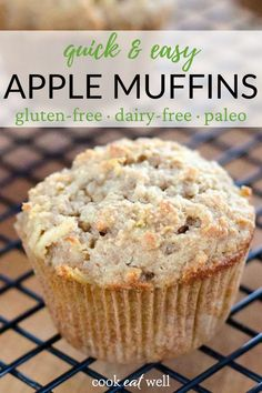 This easy healthy apple muffin recipe is an easy snack idea. It's the perfect fall recipe for meal prepping on the weekend. Easy to freeze for quick breakfasts and healthy snacks! Paleo, gluten-free, grain-free, with a dairy-free option. Made with almond flour and you can really taste the grated apple and cinnamon! Paleo Dessert, Paleo Food, Paleo Apple Recipes, Paleo Muffin Recipes, Quick Recipes, Paleo Diet, Diet Recipes, Raw Food, Pumpkin Recipes