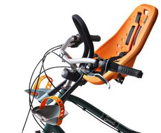 This front-mounted kid carrier keeps your toddler in earshot.  Much better than being stuck in the back with no view!