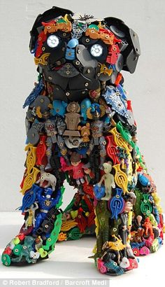 """Saatchi Art is pleased to offer the sculpture, """"TOY PUG,"""" by Robert Bradford. Original Sculpture: Plastic on N/A. Recycled Toys, Recycled Art Projects, Recycled Materials, Sculpture Textile, Dog Sculpture, Art Sculptures, Collage Sculpture, 3d Collage, Found Object Art"""