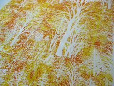 "Vintage Fabric - Silhouette Trees Orange and Gold -  House N Home - By the Yard x 46""W - Nehiandzotz. $30.00, via Etsy."