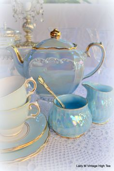 Sadler blue lustre teapot with gold edging, w/ non matching creamer, sugar, cups and saucers, c. 1930s-1960s, ceramic, UK