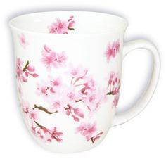 Teebecher Fine Bone China  400ml  Kirschblüten, cherry blossoms,handdekoriert