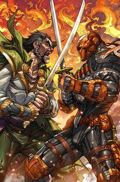 Ra's al Ghul vs Deathstroke Heros Comics, Dc Comics Characters, Dc Heroes, Dc Deathstroke, Deathstroke The Terminator, Comic Book Artists, Comic Books Art, Comic Art, Comic Manga