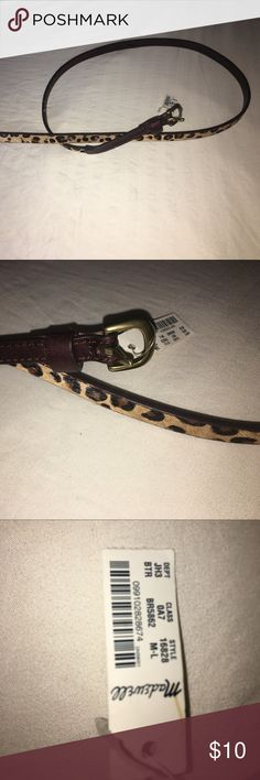 """Leopard Calf Hair Skinny Belt - Madewell sz M-L Gorgeous NWT leopard print skinny belt.  This actually has authentic calf hair, looks like leopard fur.  42"""" long, 1/2 inch wide belt.  Brass buckle (pictured). Madewell Accessories Belts"""