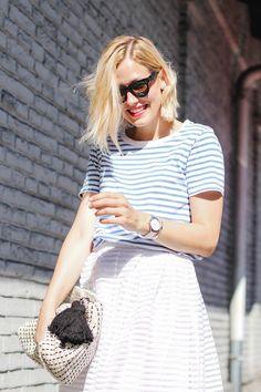 tifmys – Céline Mini Audrey sunnies, Cos striped shirt, Vero Moda skirt, Zara knitted clutch & Rosefield watch.