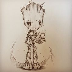 """""""You got a set of acorns on you"""". Teenage Groot is growing on me, wasn't sure about him at first. How many times have you all see ? Cartoon Sketches, Drawing Sketches, Art Drawings, Sharpie Drawings, Marvel Drawings, Baby Groot Drawing, Creepy Animals, Marvel Tattoos, Marvel Fan Art"""