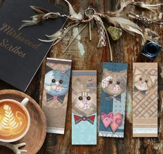 Cute Cat Bookmarks, Scrapbook Cats Bookmark, Instant Download Printable Kitty Bookmarks, Cat Lover Gift Free Printable Bookmarks, Paper Bookmarks, Cat Lover Gifts, Pet Gifts, Cat Lovers, Cat Bow Tie, Leather Bookmark, As You Like, Scrapbook