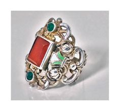 Arts and Crafts Carnelian Enamel Silver Ring, Probably Pforzheim, circa 1900 Antique Rings, Antique Jewelry, Crystal Jewelry, Jewelry Rings, Green Stone, Silver Enamel, Carnelian, Stone Rings