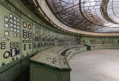 The former control room of the Kelenföld Power Plant in Hungary, Budapest, a century-old facility that was once among the most advanced of its kind in the dawn of an electrical age. Captured in all its breathtaking glory by French urban photographer Romain Veillon