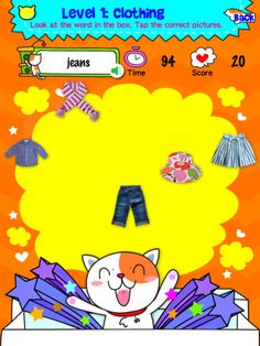 Vocabulary Catcher 6 - Clothing, Sports and Sports Equipment ($0.00) Children have to listen to the given words and are challenged to pop as many correct pictures as they can before the clock runs out. Children can beat their own high score or compete with other players. It provides a lot of enjoyment for children in learning vocabulary.