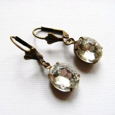 Vintage Clear Jewel Glass Oval and Brass Earrings by TheSilverDog, $10.00