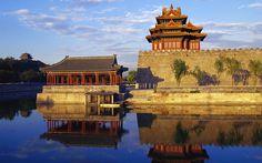 Corner Tower of Forbidden City in Beijin, China