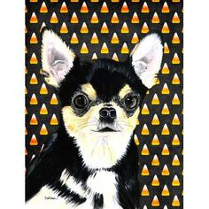 Caroline's Treasures Chihuahua Candy Corn Halloween House Vertical Flag