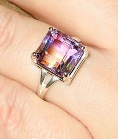 Top Grade BiColor Ametrine In Sterling Silver Ring by GemsBerry, $127.00