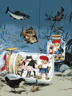 Tony Wolf.  Utterly bizarre--gnomes and frogs in boxer shorts underwater?