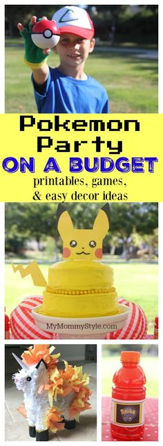 Pokemon Party On a Budget This is the cutest Pokémon party! Free printables, game ideas, and darling treats! Pokémon go instructions and Pokémon diy piñata!<br> embrace the mom you are Birthday Party Games, 6th Birthday Parties, Birthday Party Decorations, Boy Birthday, Birthday Ideas, Pokemon Party Decorations, Birthday Recipes, Turtle Birthday, Turtle Party