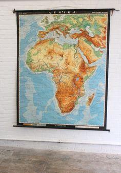 Large+Mid+Century+German+School+Map+Of+Africa+Circa+1960